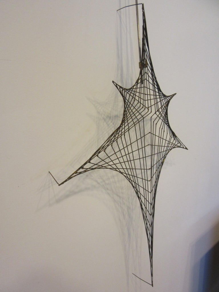Midcentury Spider Web Metal Wire Wall Sculpture in the Style of Bertoia For Sale 1