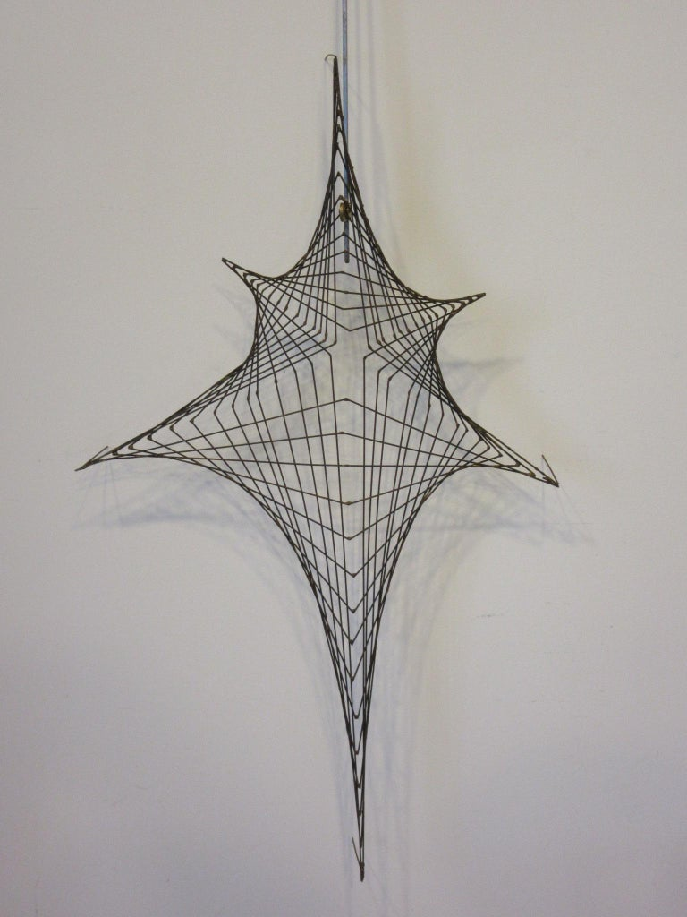 Midcentury Spider Web Metal Wire Wall Sculpture in the Style of Bertoia For Sale 2
