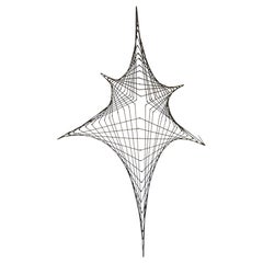 Midcentury Spider Web Metal Wire Wall Sculpture in the Style of Bertoia