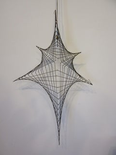 Mid Century Spider Web Metal Wire Wall Sculpture in the style of Bertoia