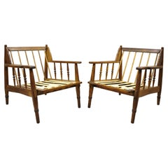 Mid Century Spindle Back Oak Wood Danish Style Lounge Club Chairs, a Pair