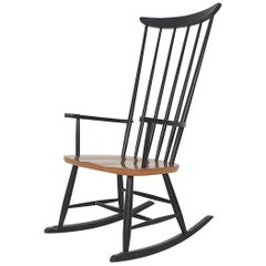 Mid-century Spindle Back Rocking Chair, the Netherlands, 1960's
