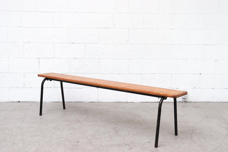 Mid-Century Modern Mid-Century Stacking Wood Slat Gymnasium Benches For Sale