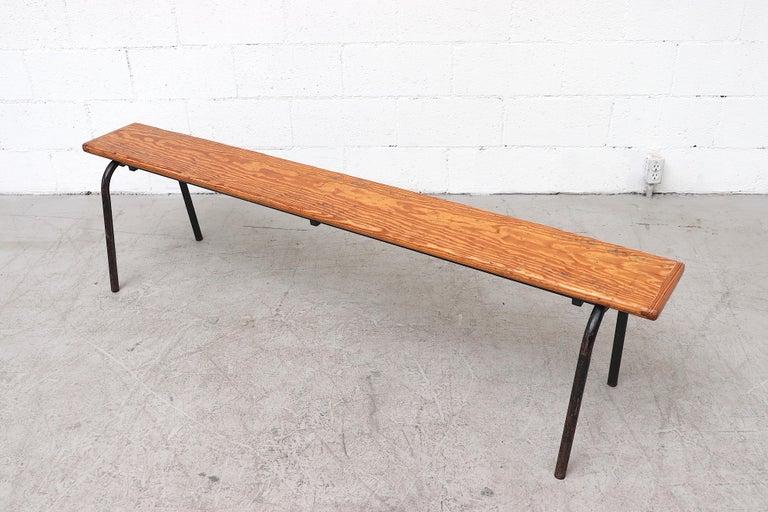 Enameled Mid-Century Stacking Wood Slat Gymnasium Benches For Sale