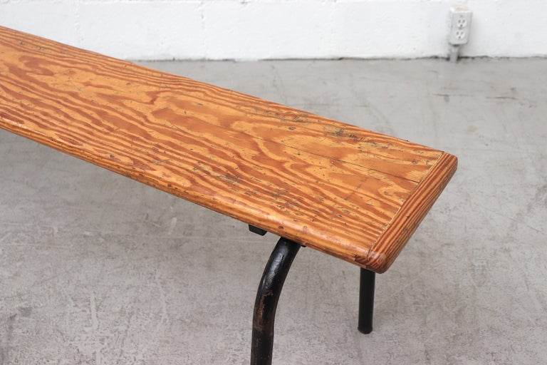 Mid-Century Stacking Wood Slat Gymnasium Benches In Good Condition For Sale In Los Angeles, CA