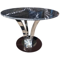 Mid Century Stainless Steel Table with Black Marble Top by Roberto Cavelli