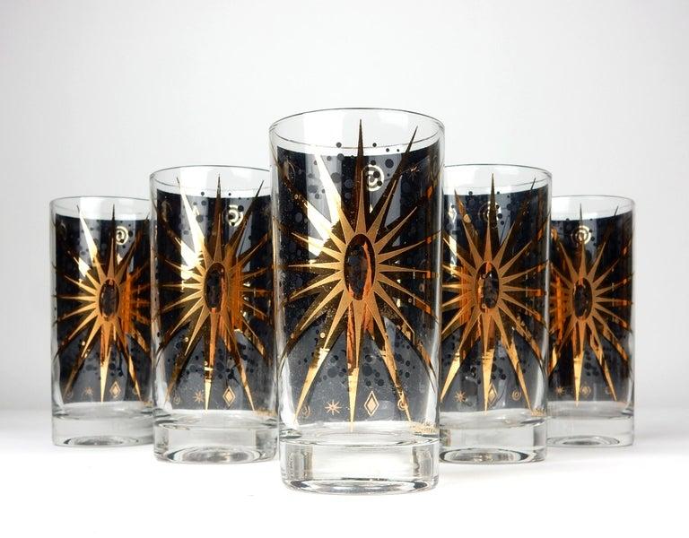 Mid-Century Modern Mid-Century Starburst Celestial Gold Hi-Ball Bar Glasses by Fred Press For Sale