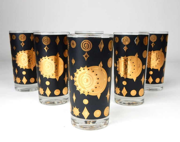 Mid-Century Starburst Celestial Gold Hi-Ball Bar Glasses by Fred Press In Good Condition For Sale In Las Vegas, NV