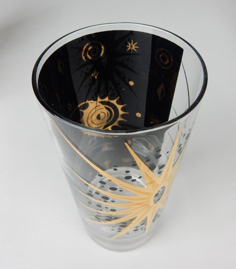 Mid-Century Starburst Celestial Gold Hi-Ball Bar Glasses by Fred Press For Sale 1