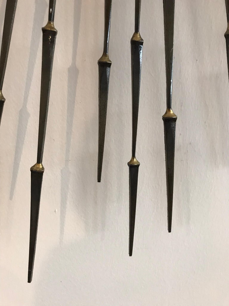 Copper Midcentury Stark Brutalist Starburst Sunburst Wall Sculpture by Ron Schmidt For Sale