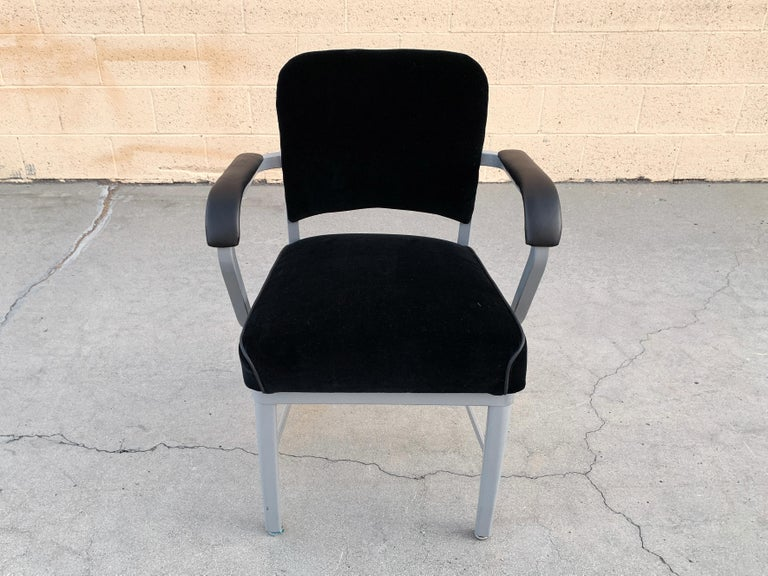 Mid-Century Modern Midcentury Steel Tanker Armchair, Refinished in Bengal Silver and Black Velvet For Sale