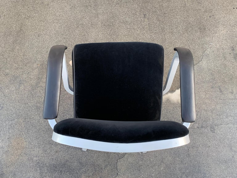 American Midcentury Steel Tanker Armchair, Refinished in Bengal Silver and Black Velvet For Sale