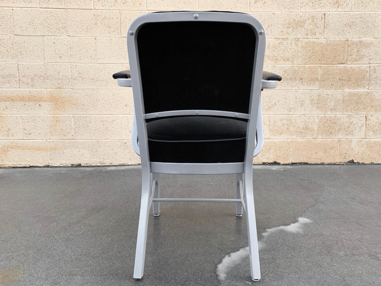 Powder-Coated Midcentury Steel Tanker Armchair, Refinished in Bengal Silver and Black Velvet For Sale