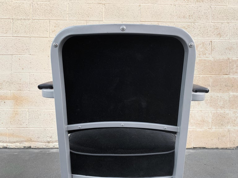 Midcentury Steel Tanker Armchair, Refinished in Bengal Silver and Black Velvet In Good Condition For Sale In Alhambra, CA