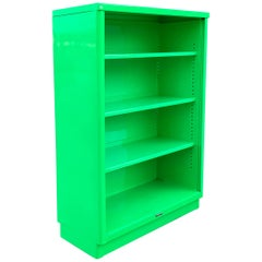 Midcentury Steel Tanker Bookcase Refinished in Florence Green