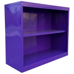 Midcentury Steel Tanker Office Bookcase, Refinished in Purple