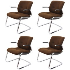 Midcentury Steelcase Chromed Steel and Brown Fabric American Armchairs, 1980s