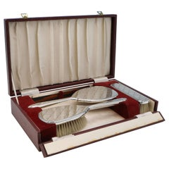 Mid-Century Sterling Silver Dressing Table Set, Deakin & Francis 1974, Boxed