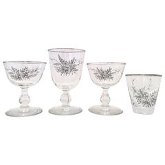 Mid-Century Sterling Silver & Embossed Floral Motif Glass Drinks S/19