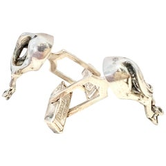 Mid-Century Sterling Silver Horse Cufflinks By Fenwick & Sailors
