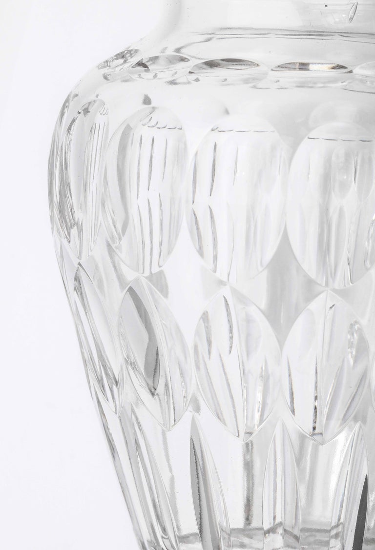 Mid-Century Modern Mid-Century Sterling Silver-Mounted Cut Crystal Vase For Sale