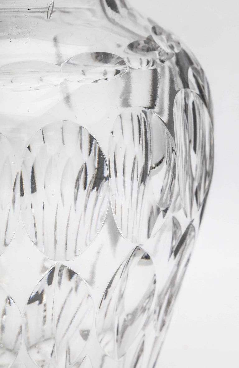 Mid-Century Sterling Silver-Mounted Cut Crystal Vase For Sale 3