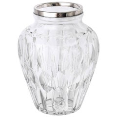 Mid-Century Sterling Silver-Mounted Cut Crystal Vase