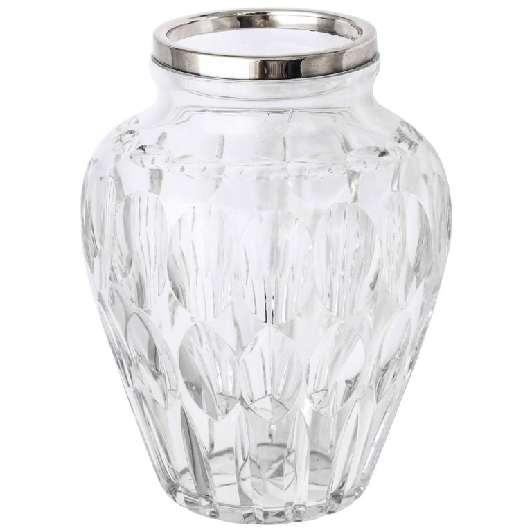 Mid-Century Sterling Silver-Mounted Cut Crystal Vase For Sale