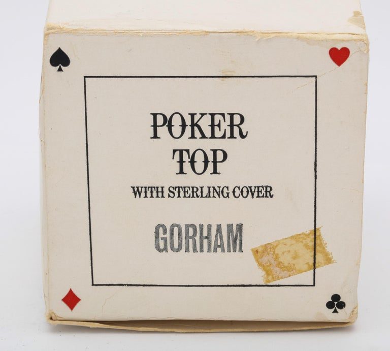 Midcentury Sterling Silver-Mounted Wood Poker Players Top by Gorham For Sale 11