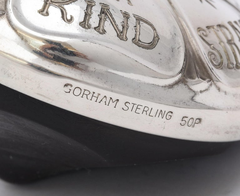 Midcentury Sterling Silver-Mounted Wood Poker Players Top by Gorham For Sale 3
