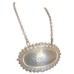 Mid Century Sterling Silver Scotch Decanter Label