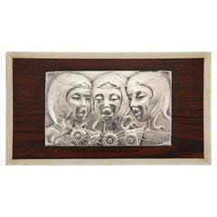 Midcentury Sterling Silver Wall Panel Singing Girls Ottaviani, Italy, 1960