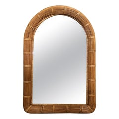 Midcentury Stick Rattan Arch Top Wall Mirror, American, 1970s