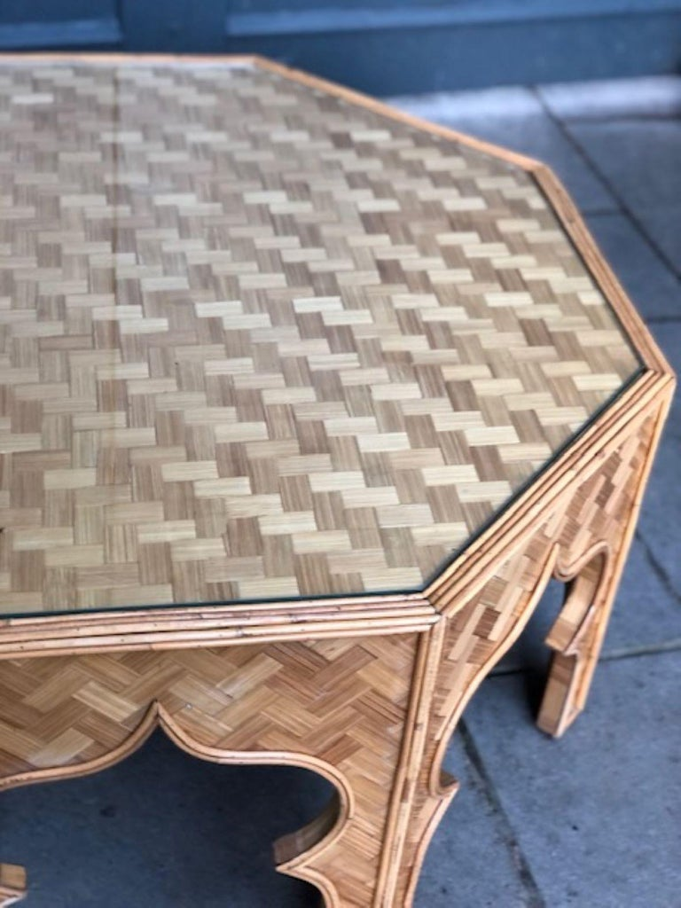 Mid Century Stick Rattan & Bamboo Coffee / Cocktail Table, Italian, 1970s For Sale 5