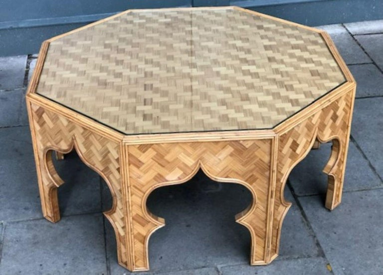 Mid Century Stick Rattan & Bamboo Coffee / Cocktail Table, Italian, 1970s For Sale 6