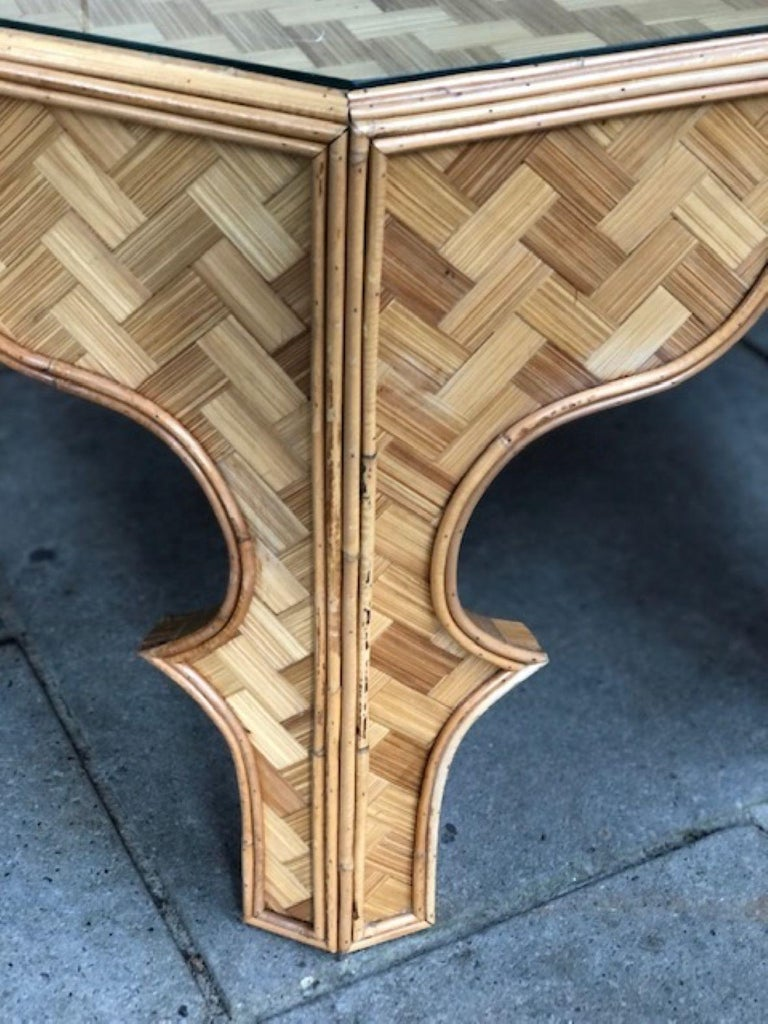 Mid Century Stick Rattan & Bamboo Coffee / Cocktail Table, Italian, 1970s For Sale 8