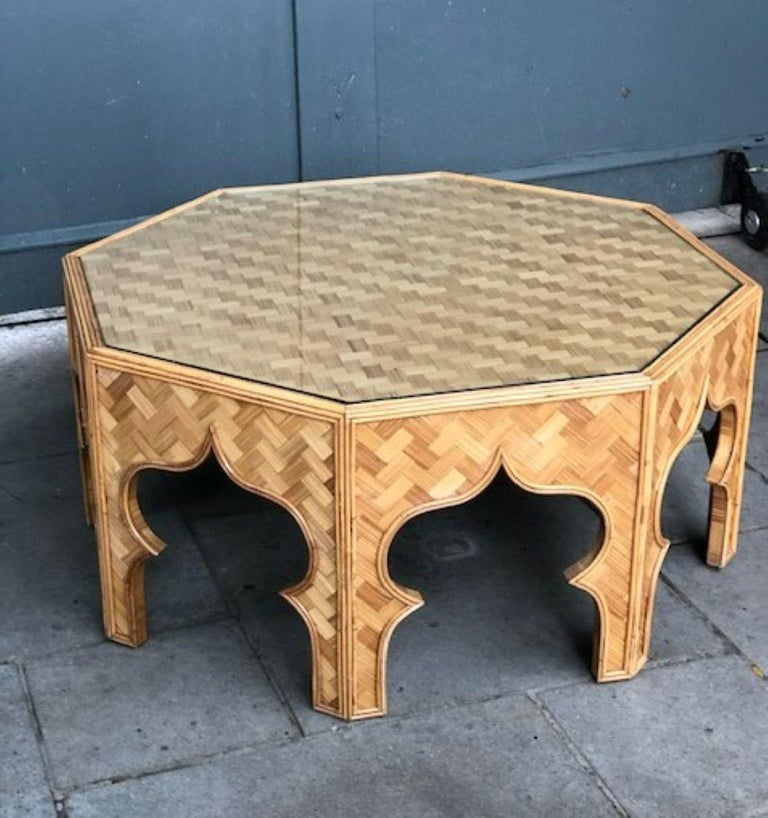 Mid Century Stick Rattan & Bamboo Coffee / Cocktail Table, Italian, 1970s In Good Condition For Sale In Richmond, Surrey