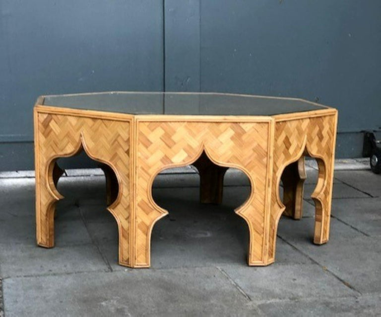 Late 20th Century Mid Century Stick Rattan & Bamboo Coffee / Cocktail Table, Italian, 1970s For Sale