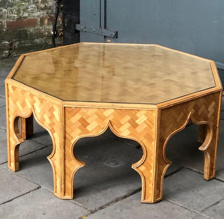 Mid Century Stick Rattan & Bamboo Coffee / Cocktail Table, Italian, 1970s For Sale 1
