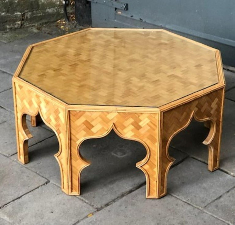 Mid Century Stick Rattan & Bamboo Coffee / Cocktail Table, Italian, 1970s For Sale 2