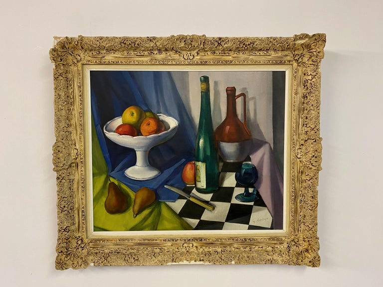 Still life  Oil on canvas  Ornate frame with some damage to carving  Belgian mid century.