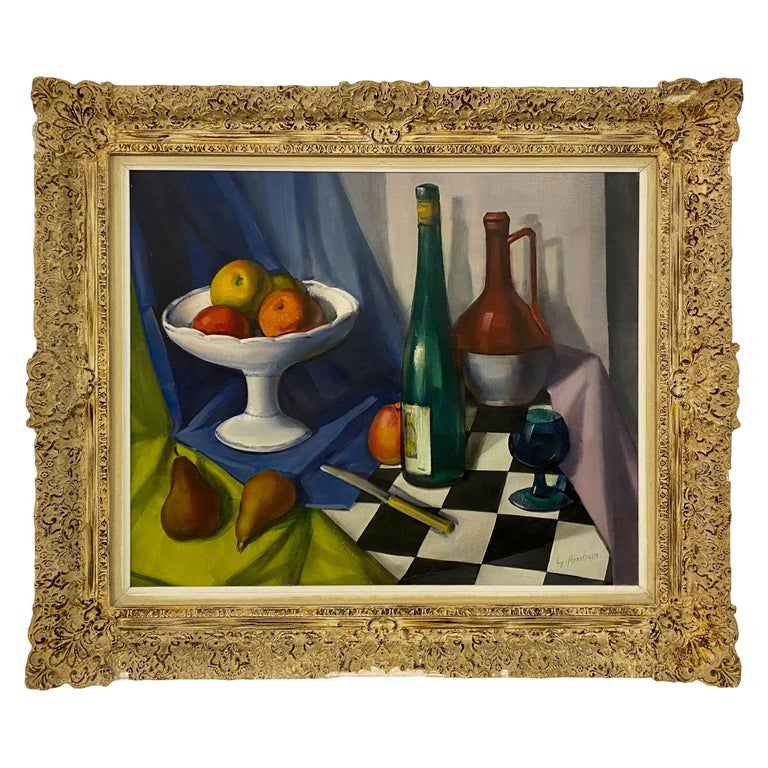 Mid Century Still Life Oil Painting For Sale