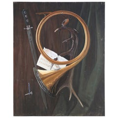 Mid-Century Still Life Painting on Wood of a Classical Scene with a Horn