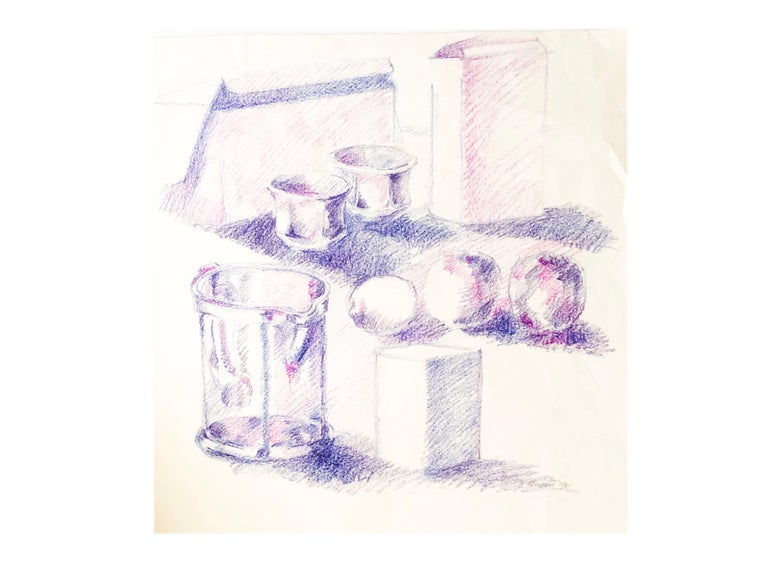Gorgeous still life drawing by New York Ab Ex artist Salvatore Grippi. Violet oil pencil on paper.