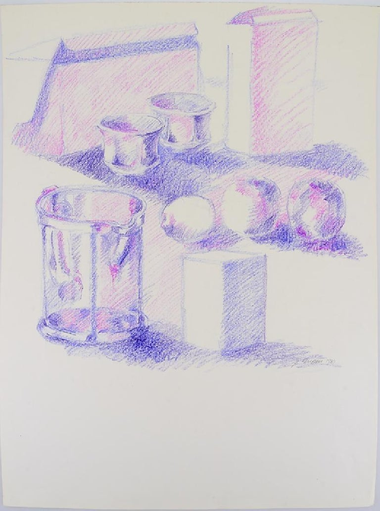 American Mid-century Still-Life Violet Tabletop Pop Art Drawing by Salvatore Grippi 1960 For Sale
