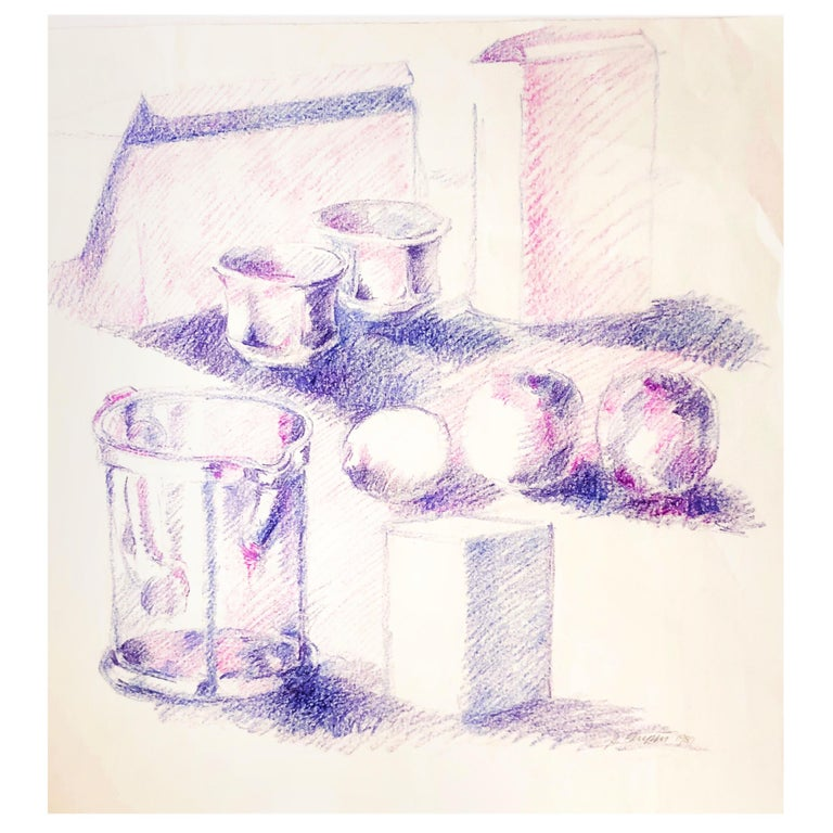 Mid-century Still-Life Violet Tabletop Pop Art Drawing by Salvatore Grippi 1960 For Sale