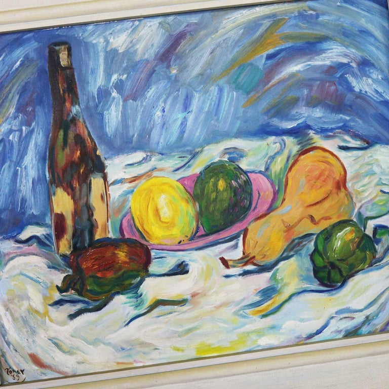 Midcentury Still Life with Fruit and Wine Bottle by Lee Tonar, 1959 For Sale 10