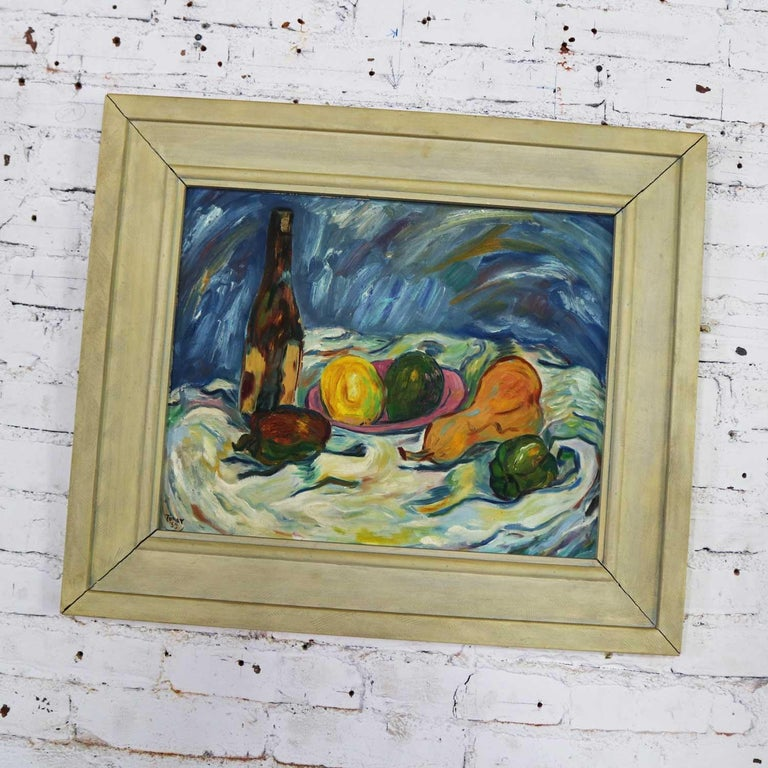 Mid-Century Modern Midcentury Still Life with Fruit and Wine Bottle by Lee Tonar, 1959 For Sale