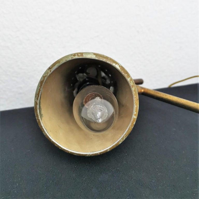 Mid-Century Modern Mid-Century Stilnovo Adjustable Brass Table Lamp, 50s, Italy For Sale