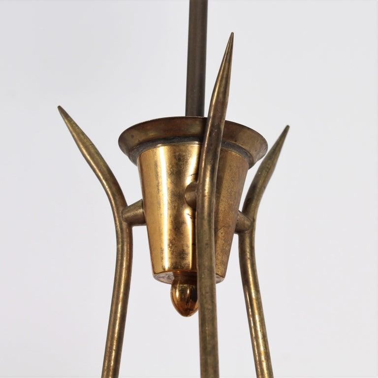 Midcentury Stilnovo Brass and Opaline Glass Chandelier, 1950s, Italy For Sale 4